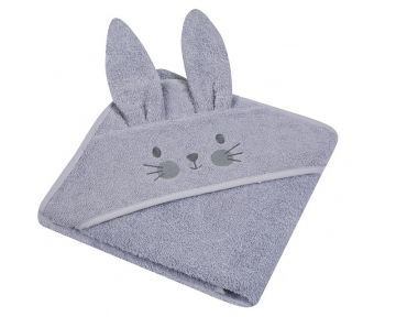 "Beebi rätik kapuutsiga ""Bunny"" 80x80 cm hall"