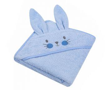 """Beebi rätik kapuutsiga """"Bunny"""" 80x80 cm sinine"""