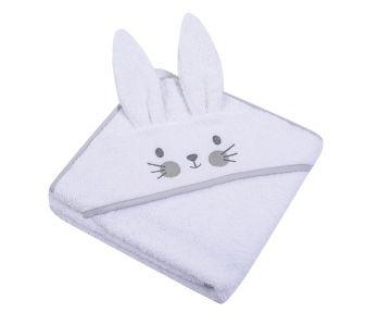 """Beebi rätik kapuutsiga """"Bunny"""" 80x80 cm  valge"""