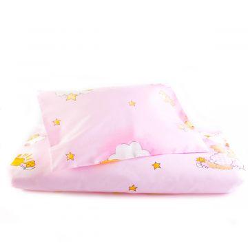 """Patalynė kūdikio lopšiukuii 80x70cm """"Debesėliai"""" rožinės sp."""